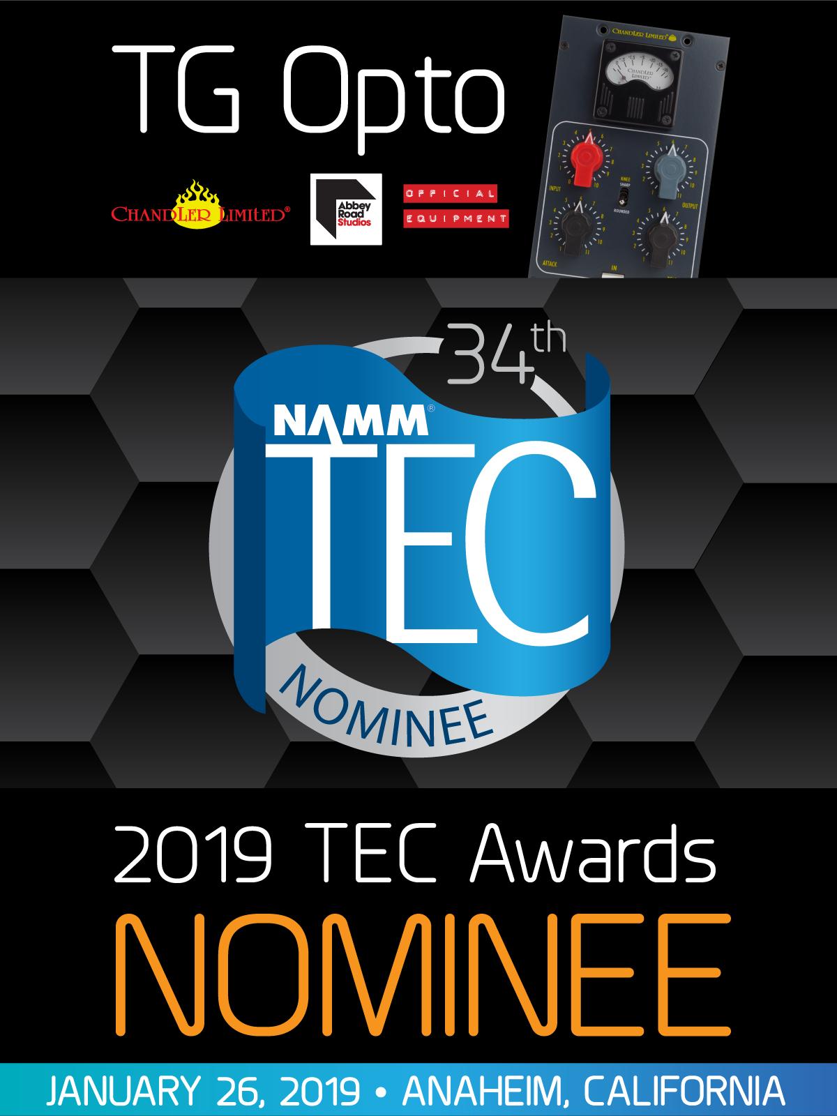 Chandler Limited TG Opto NAMM TEC Awards 34th, EMI Abbey Road Studios